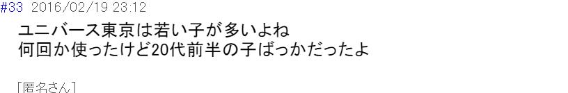 ユニバース東京 評判(口コミ)